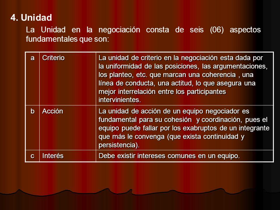 La Unidad en la negociación consta de seis (06) aspectos fundamentales que son: 4. Unidad aCriterio La unidad de criterio en la negociación esta dada