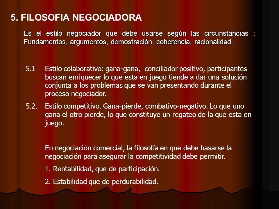 Es el estilo negociador que debe usarse según las circunstancias : Fundamentos, argumentos, demostración, coherencia, racionalidad. 5. FILOSOFIA NEGOC