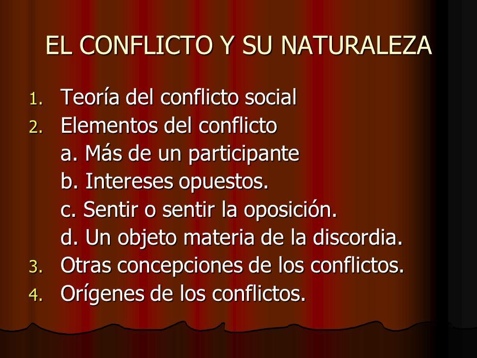 EL CONFLICTO Y SU NATURALEZA 1. Teoría del conflicto social 2. Elementos del conflicto a. Más de un participante b. Intereses opuestos. c. Sentir o se