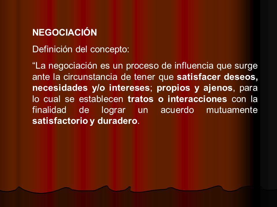 NEGOCIACIÓN Definición del concepto: La negociación es un proceso de influencia que surge ante la circunstancia de tener que satisfacer deseos, necesi