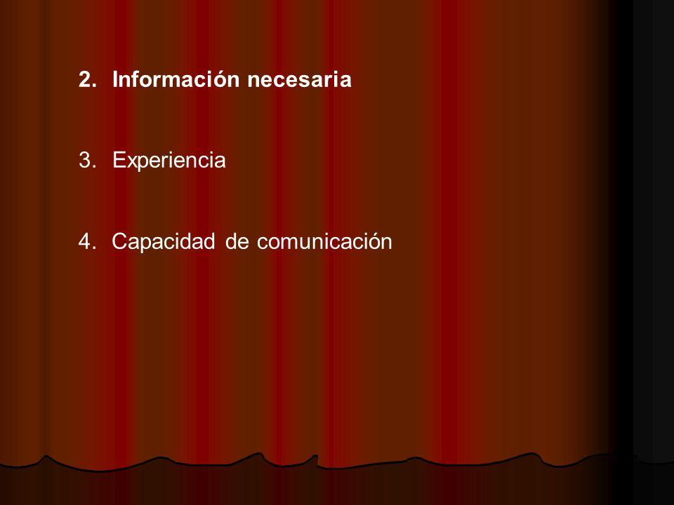 2.Información necesaria 3.Experiencia 4. Capacidad de comunicación