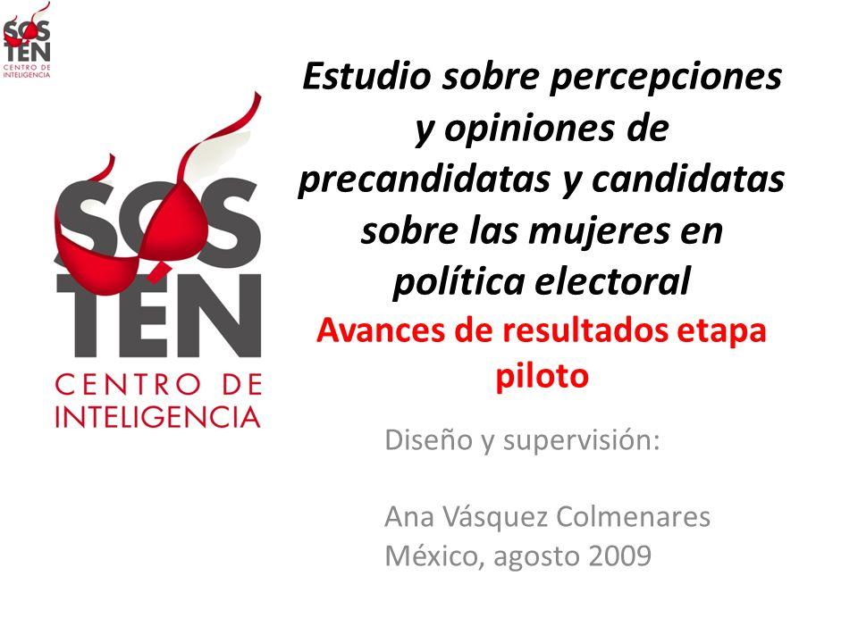 Estudio sobre percepciones y opiniones de precandidatas y candidatas sobre las mujeres en política electoral Avances de resultados etapa piloto Diseño