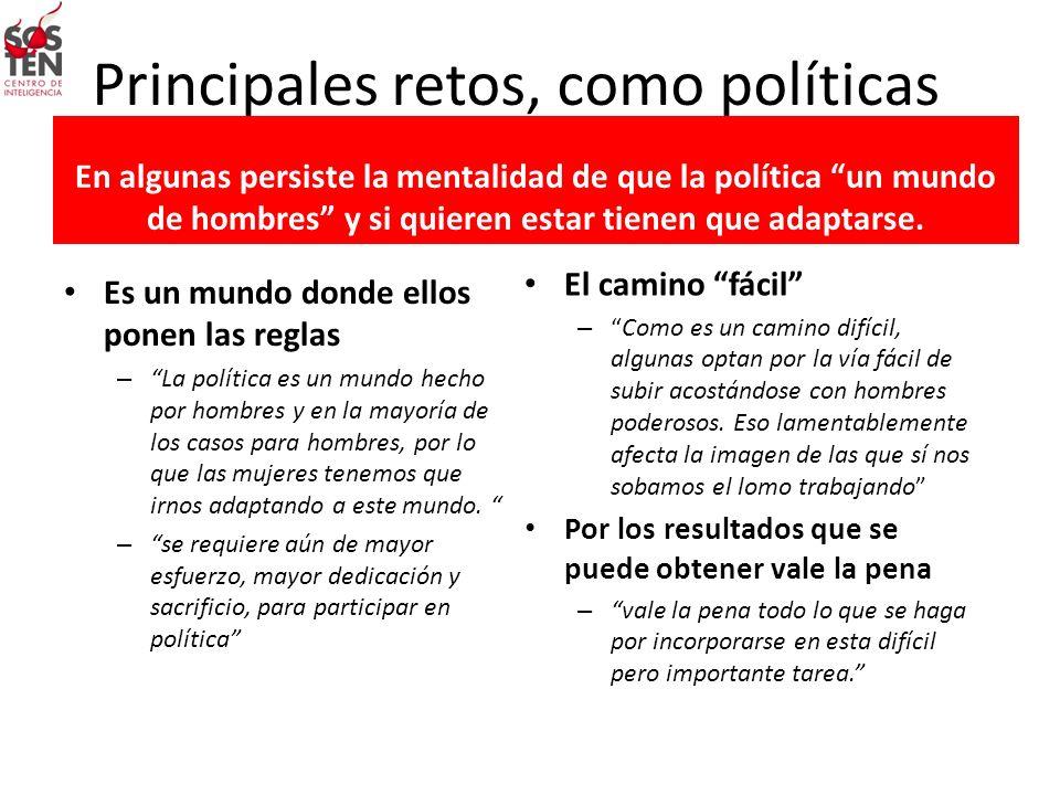Principales retos, como políticas En algunas persiste la mentalidad de que la política un mundo de hombres y si quieren estar tienen que adaptarse. Es