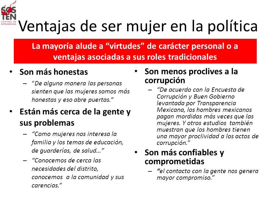 Ventajas de ser mujer en la política La mayoría alude a virtudes de carácter personal o a ventajas asociadas a sus roles tradicionales Son más honesta