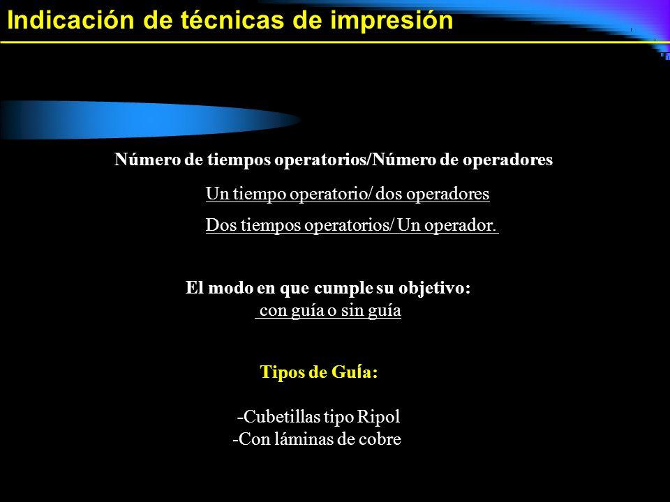 Indicación de técnicas de impresión Un tiempo operatorio/ dos operadores Número de tiempos operatorios/Número de operadores Dos tiempos operatorios/ U