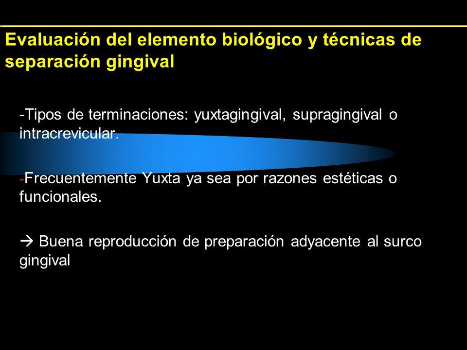 Evaluación del elemento biológico y técnicas de separación gingival -Tipos de terminaciones: yuxtagingival, supragingival o intracrevicular. - Frecuen