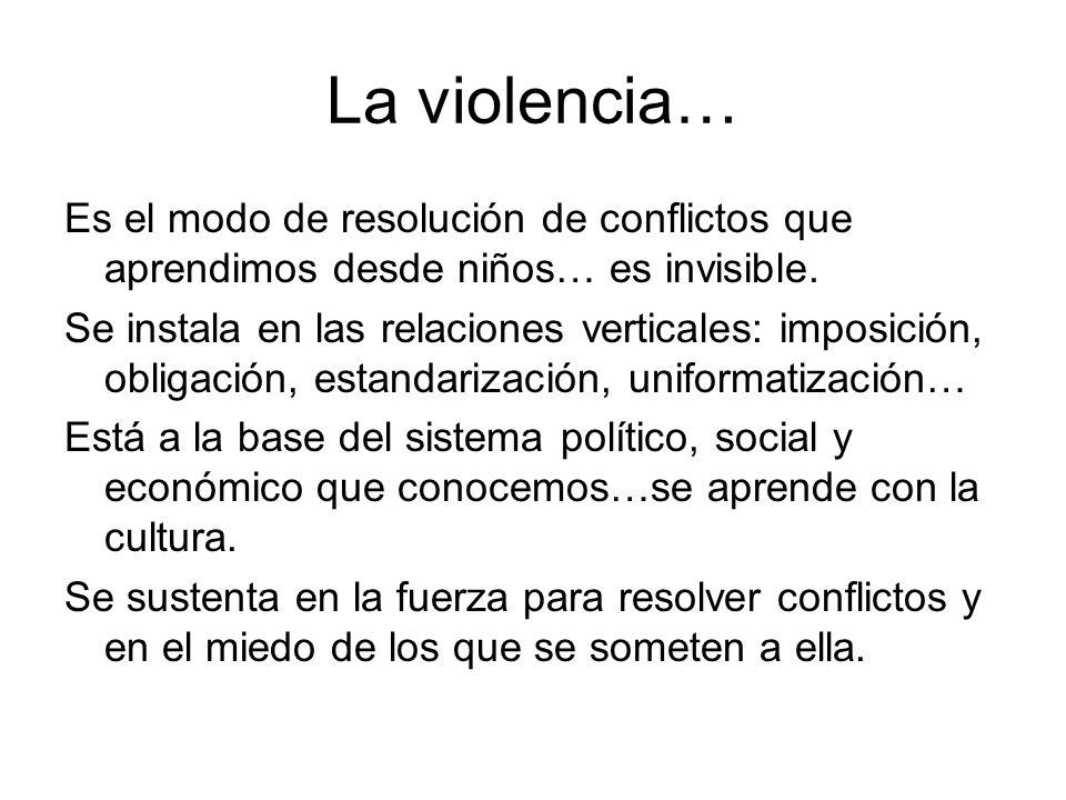La violencia… Es el modo de resolución de conflictos que aprendimos desde niños… es invisible. Se instala en las relaciones verticales: imposición, ob