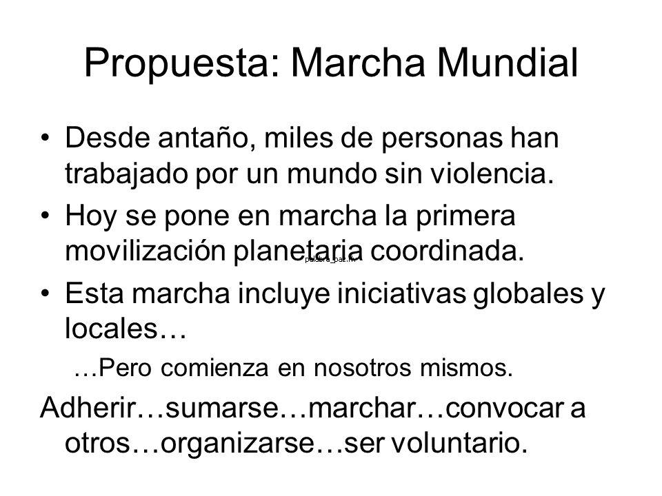 Propuesta: Marcha Mundial Desde antaño, miles de personas han trabajado por un mundo sin violencia. Hoy se pone en marcha la primera movilización plan
