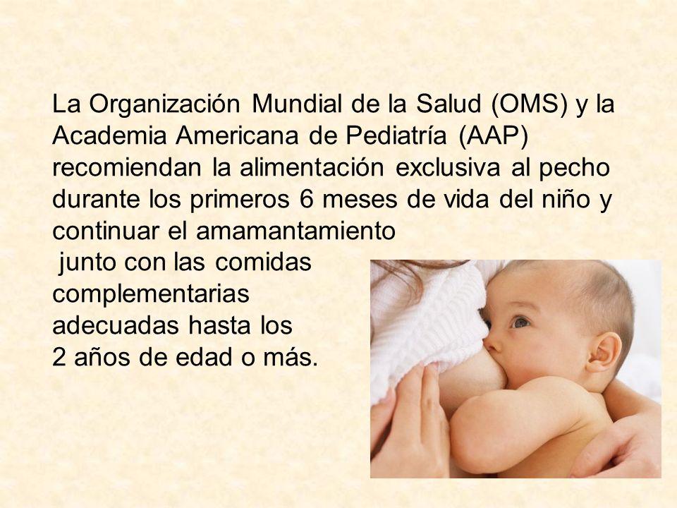 La Organización Mundial de la Salud (OMS) y la Academia Americana de Pediatría (AAP) recomiendan la alimentación exclusiva al pecho durante los primer
