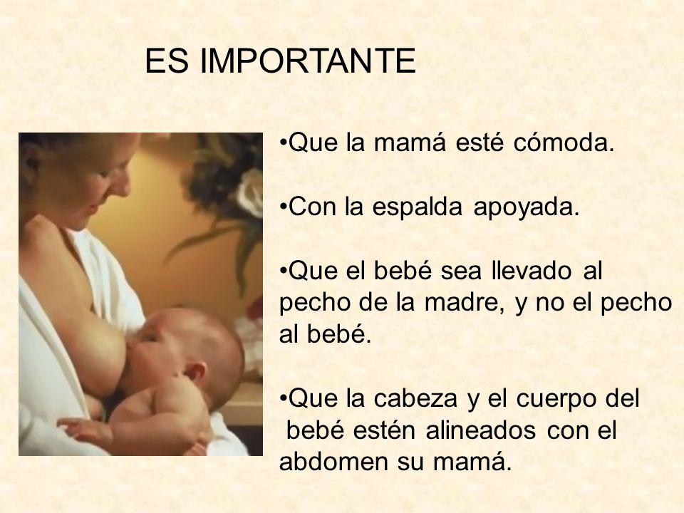 Que la cara del bebé esté frente al pecho de la mamá, su nariz contra el pezón, mirando a la madre.