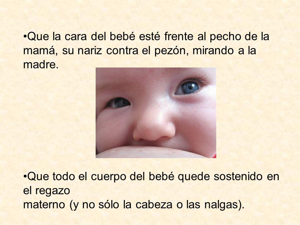 Que la cara del bebé esté frente al pecho de la mamá, su nariz contra el pezón, mirando a la madre. Que todo el cuerpo del bebé quede sostenido en el