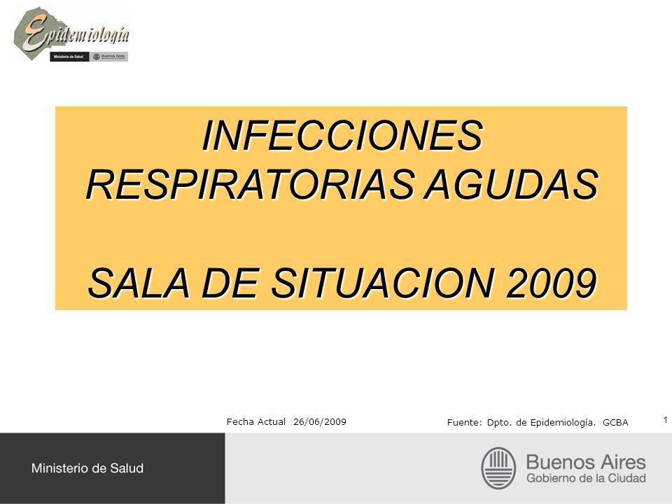 INFECCIONES RESPIRATORIAS AGUDAS SALA DE SITUACION 2009 Fecha Actual 26/06/2009 Fuente: Dpto. de Epidemiología. GCBA 1