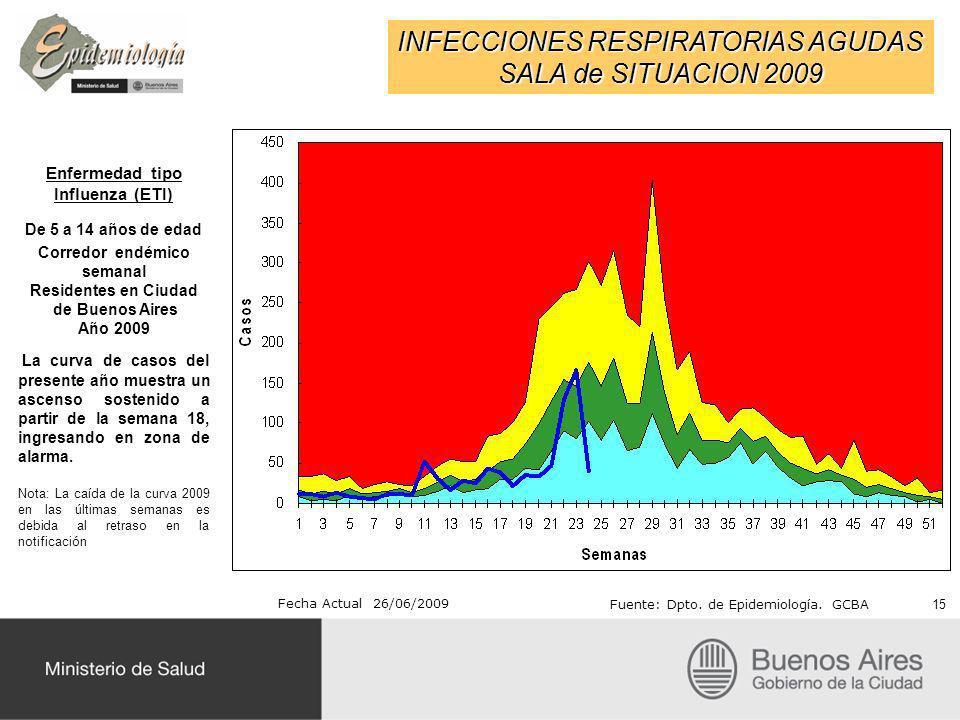 INFECCIONES RESPIRATORIAS AGUDAS SALA de SITUACION 2009 Fecha Actual 26/06/2009 Fuente: Dpto. de Epidemiología. GCBA Enfermedad tipo Influenza (ETI) D