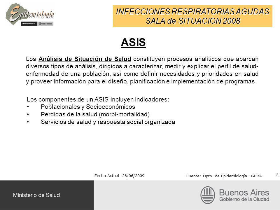 INFECCIONES RESPIRATORIAS AGUDAS SALA de SITUACION 2008 Fecha Actual 26/06/2009 Fuente: Dpto. de Epidemiología. GCBA ASIS 2 Los Análisis de Situación