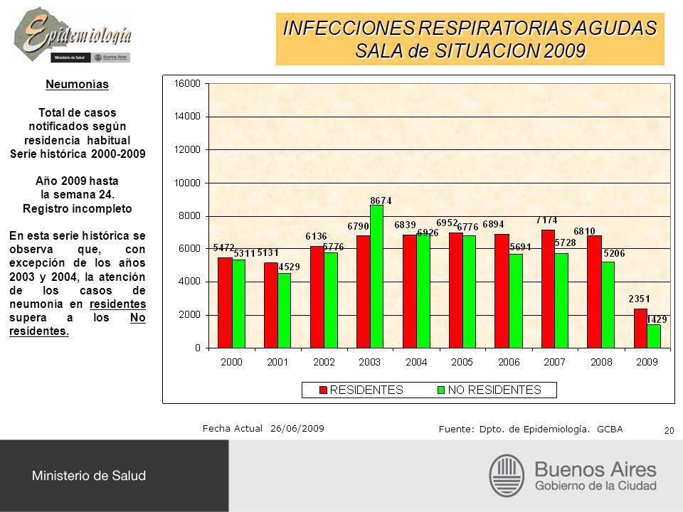 INFECCIONES RESPIRATORIAS AGUDAS SALA de SITUACION 2009 Fecha Actual 26/06/2009 Fuente: Dpto. de Epidemiología. GCBA Neumonías Total de casos notifica