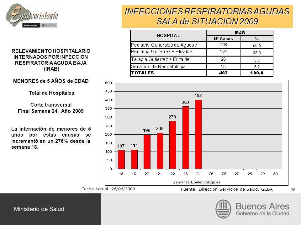 INFECCIONES RESPIRATORIAS AGUDAS SALA de SITUACION 2009 RELEVAMIENTO HOSPITALARIO INTERNADOS POR INFECCION RESPIRATORIA AGUDA BAJA (IRAB) MENORES de 5