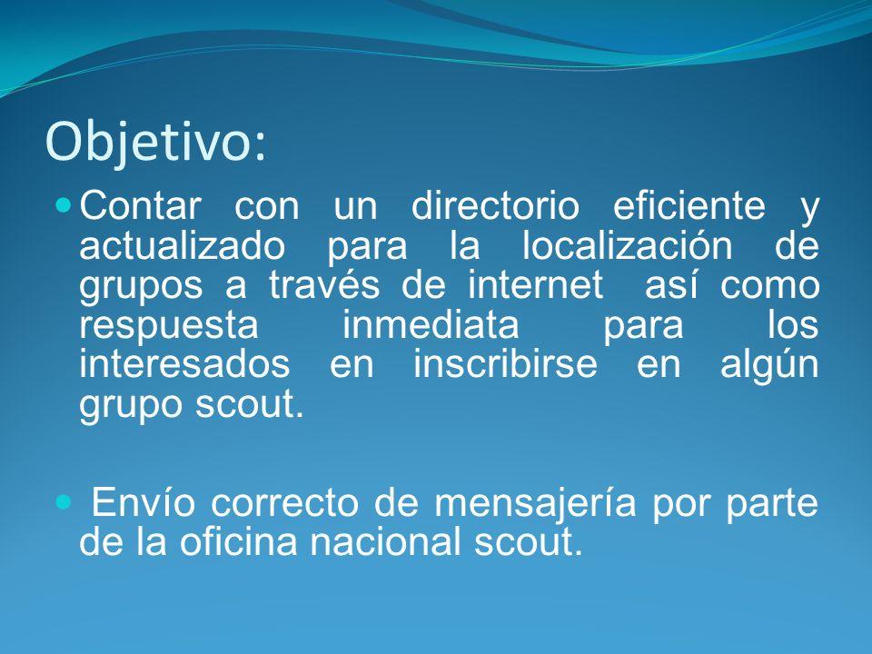 Objetivo: Contar con un directorio eficiente y actualizado para la localización de grupos a través de internet así como respuesta inmediata para los interesados en inscribirse en algún grupo scout.