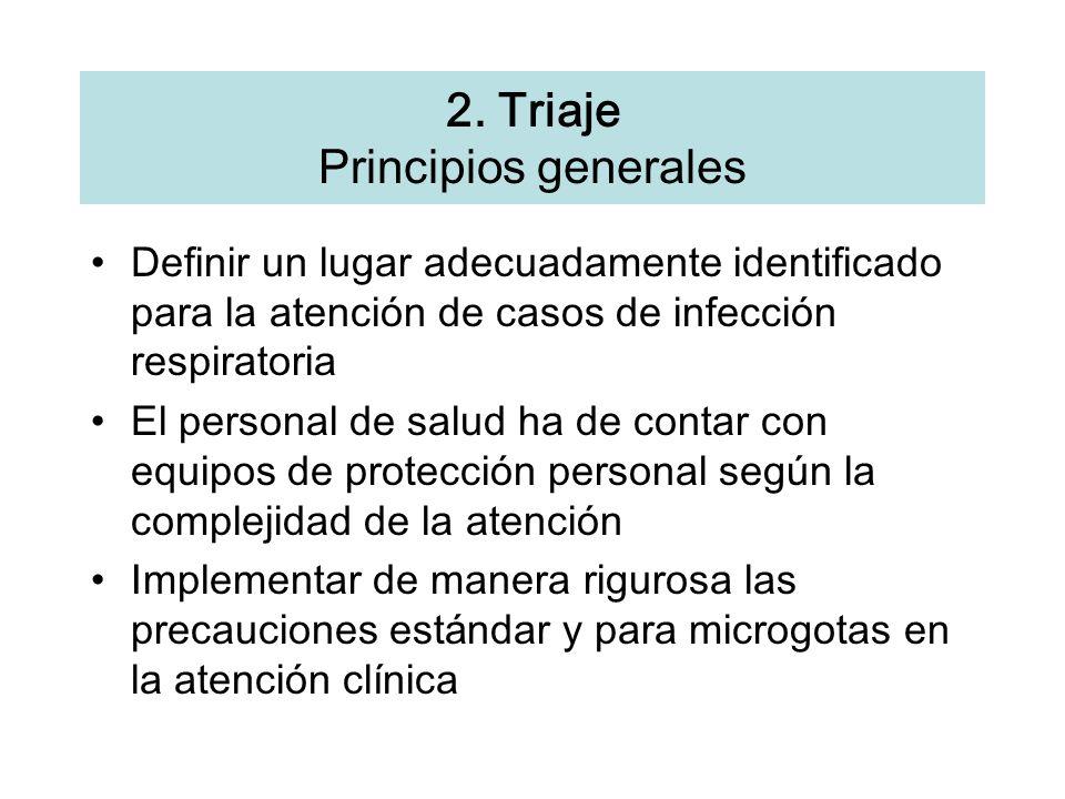 2. Triaje Principios generales Definir un lugar adecuadamente identificado para la atenci ó n de casos de infecci ó n respiratoria El personal de salu