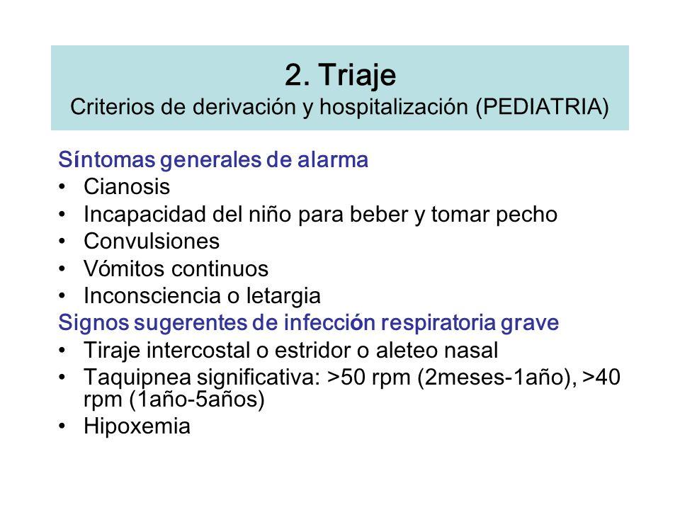 2. Triaje Criterios de derivación y hospitalización (PEDIATRIA) S í ntomas generales de alarma Cianosis Incapacidad del ni ñ o para beber y tomar pech