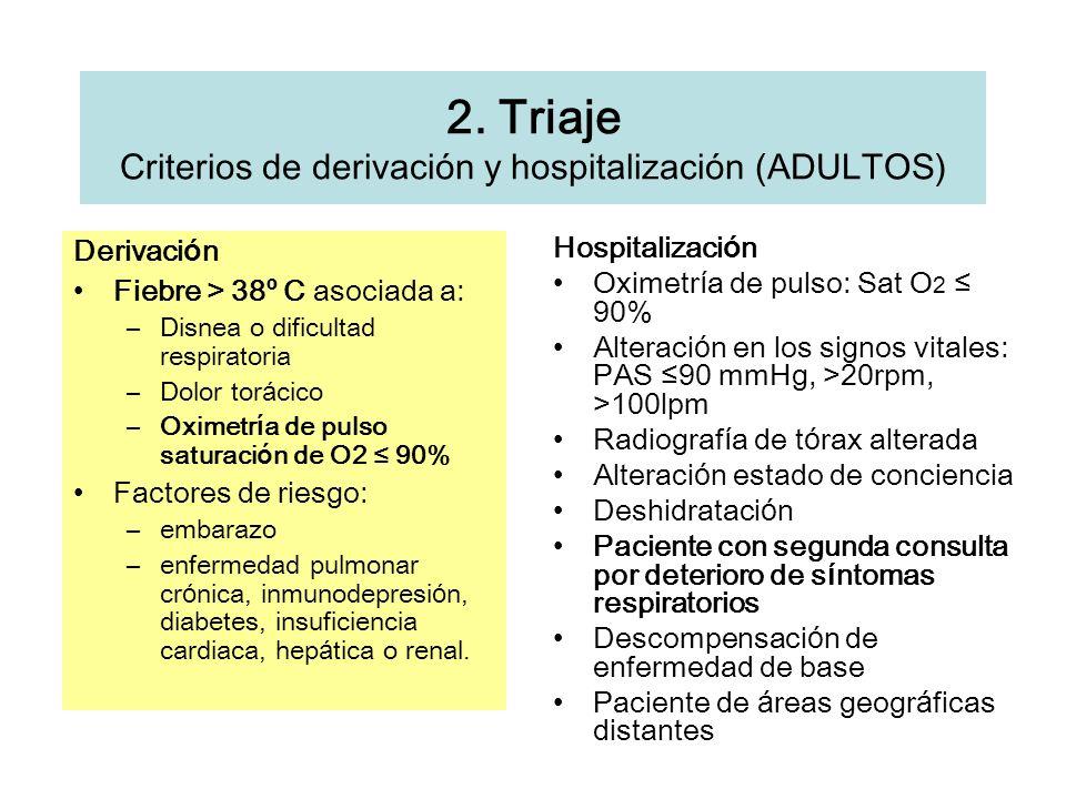 2. Triaje Criterios de derivación y hospitalización (ADULTOS) Derivaci ó n Fiebre > 38 º C asociada a: –Disnea o dificultad respiratoria –Dolor tor á