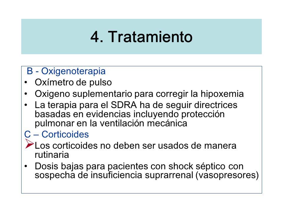 B - Oxigenoterapia Ox í metro de pulso Oxigeno suplementario para corregir la hipoxemia La terapia para el SDRA ha de seguir directrices basadas en ev
