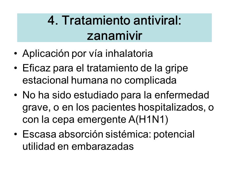 Aplicaci ó n por v í a inhalatoria Eficaz para el tratamiento de la gripe estacional humana no complicada No ha sido estudiado para la enfermedad grav