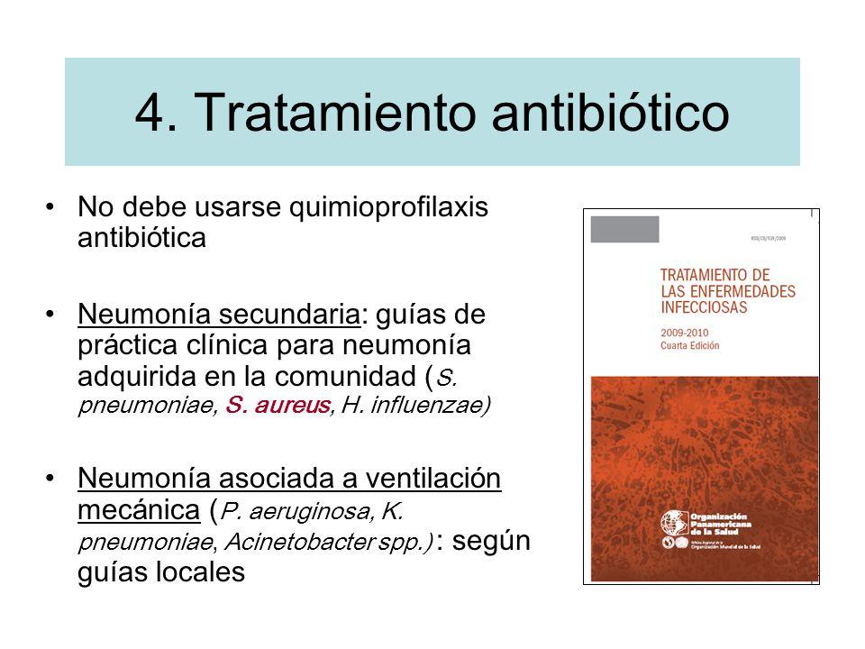 4. Tratamiento antibiótico No debe usarse quimioprofilaxis antibi ó tica Neumon í a secundaria: gu í as de pr á ctica cl í nica para neumon í a adquir