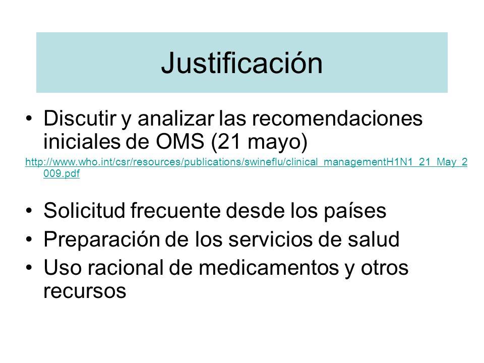 Justificación Discutir y analizar las recomendaciones iniciales de OMS (21 mayo) http://www.who.int/csr/resources/publications/swineflu/clinical_manag