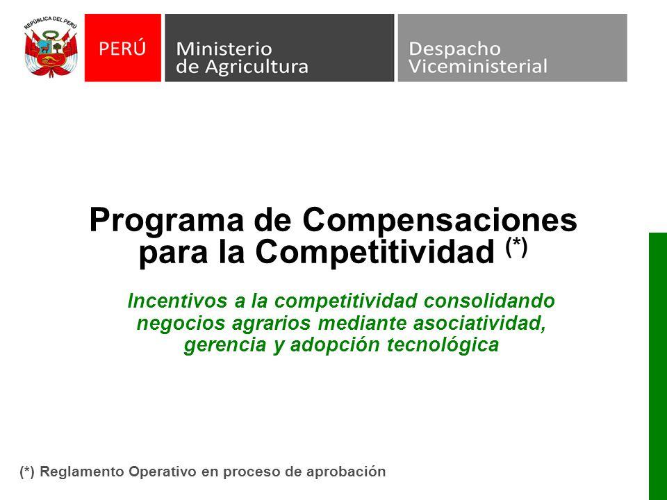 Programa de Compensaciones para la Competitividad (*) Incentivos a la competitividad consolidando negocios agrarios mediante asociatividad, gerencia y