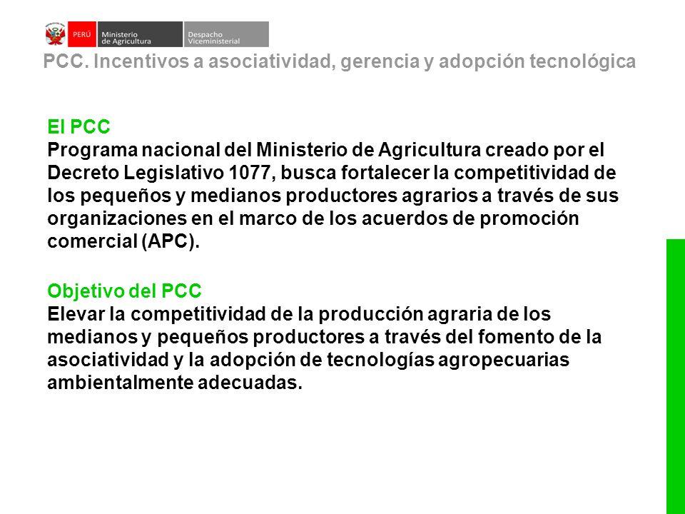 El PCC Programa nacional del Ministerio de Agricultura creado por el Decreto Legislativo 1077, busca fortalecer la competitividad de los pequeños y me