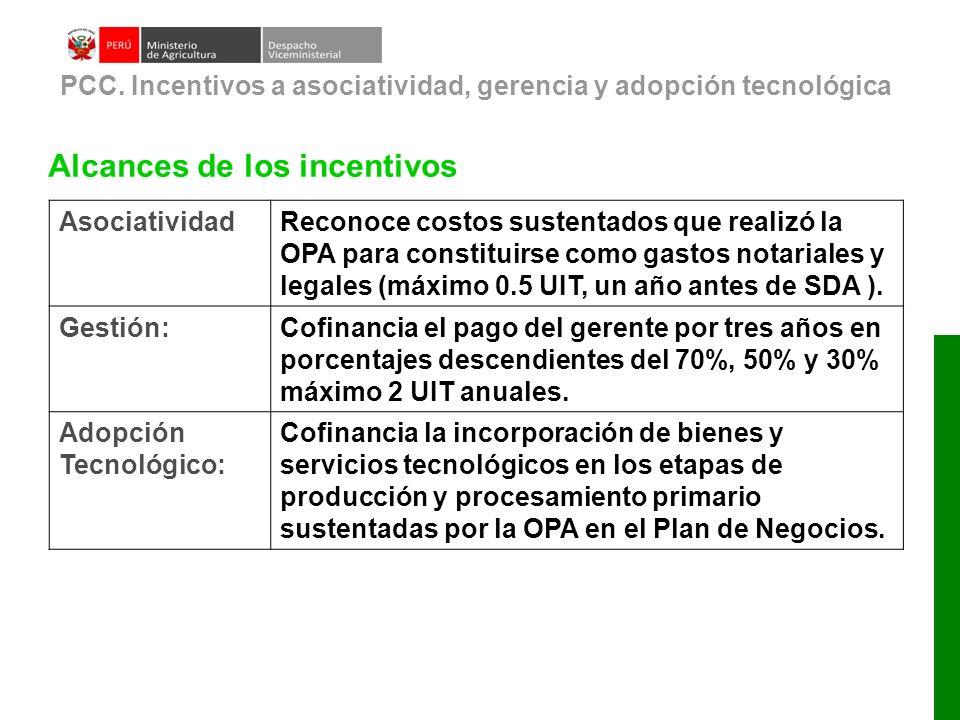 Alcances de los incentivos PCC. Incentivos a asociatividad, gerencia y adopción tecnológica AsociatividadReconoce costos sustentados que realizó la OP