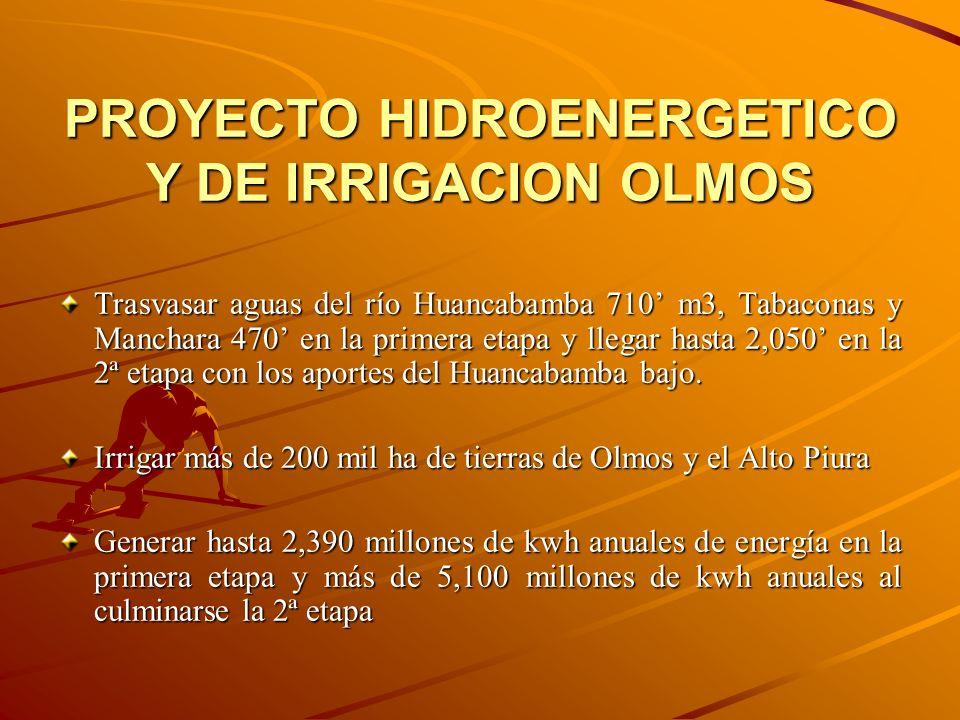 PROYECTO HIDROENERGETICO Y DE IRRIGACION OLMOS Trasvasar aguas del río Huancabamba 710 m3, Tabaconas y Manchara 470 en la primera etapa y llegar hasta