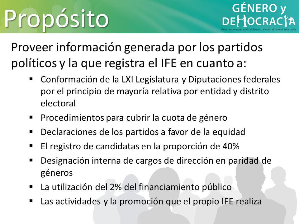 Propósito Proveer información generada por los partidos políticos y la que registra el IFE en cuanto a: Conformación de la LXI Legislatura y Diputacio
