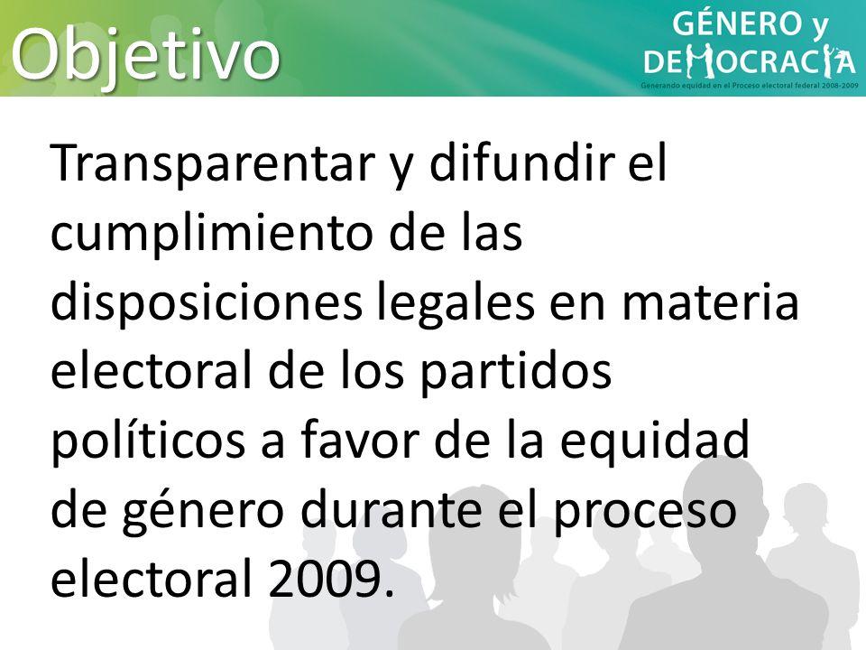 Transparentar y difundir el cumplimiento de las disposiciones legales en materia electoral de los partidos políticos a favor de la equidad de género d