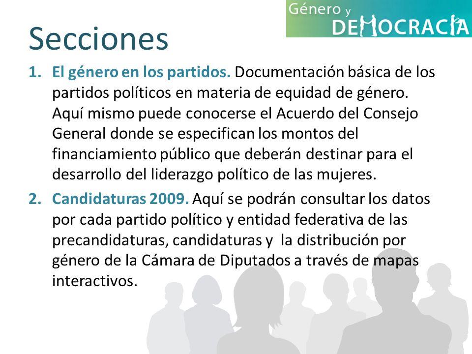 Secciones 1.El género en los partidos. Documentación básica de los partidos políticos en materia de equidad de género. Aquí mismo puede conocerse el A