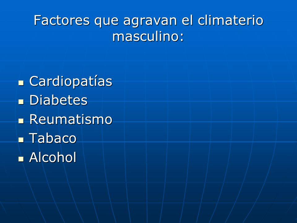 Factores que agravan el climaterio masculino: Cardiopatías Cardiopatías Diabetes Diabetes Reumatismo Reumatismo Tabaco Tabaco Alcohol Alcohol
