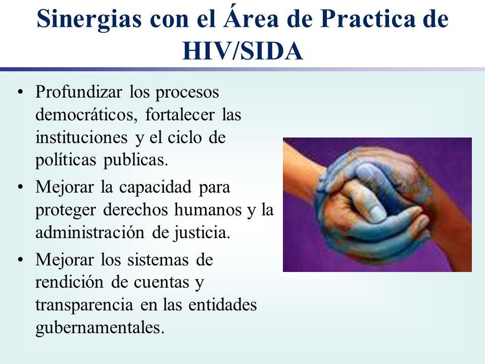 Sinergias con el Área de Practica de HIV/SIDA Profundizar los procesos democráticos, fortalecer las instituciones y el ciclo de políticas publicas. Me