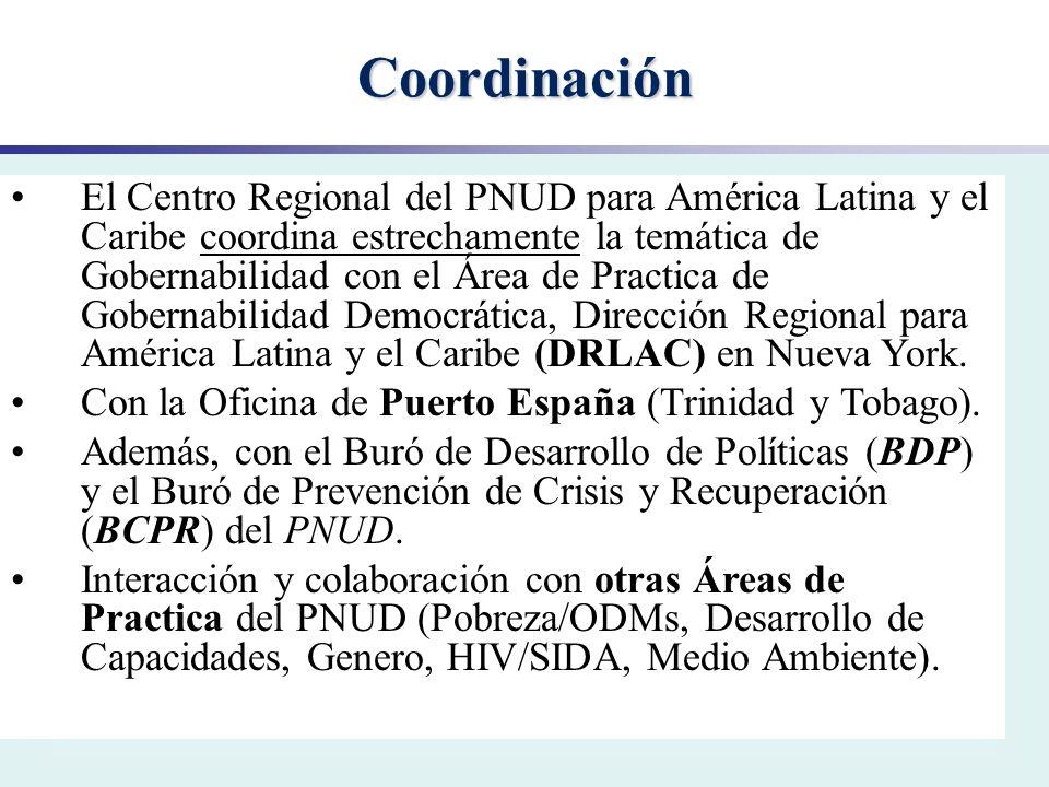 Coordinación El Centro Regional del PNUD para América Latina y el Caribe coordina estrechamente la temática de Gobernabilidad con el Área de Practica