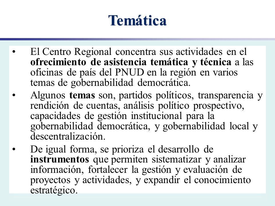 Temática El Centro Regional concentra sus actividades en el ofrecimiento de asistencia temática y técnica a las oficinas de país del PNUD en la región