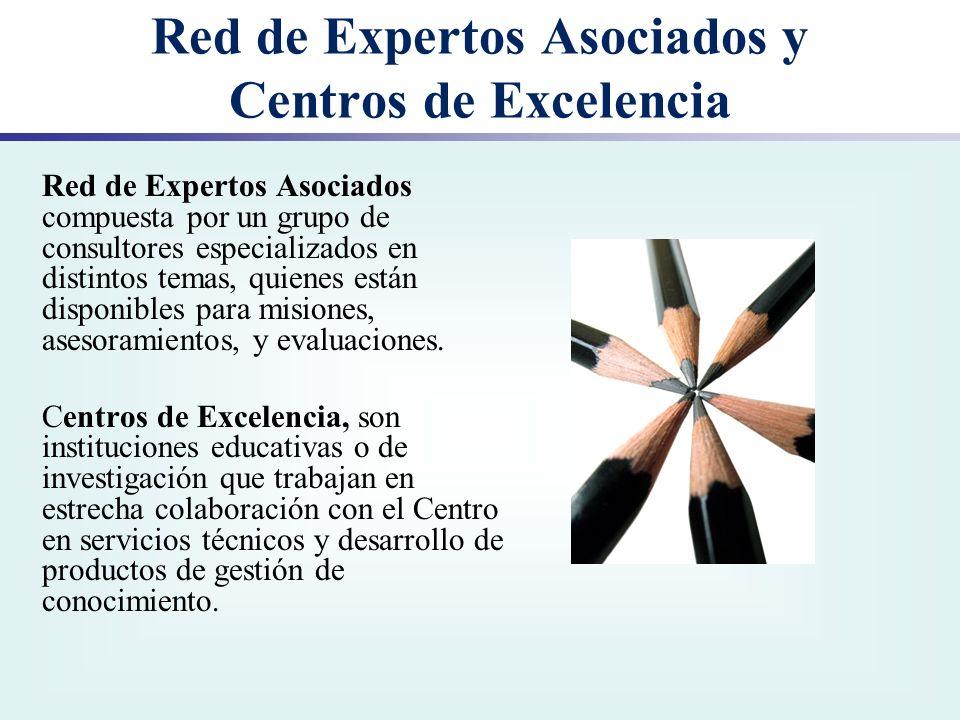 Red de Expertos Asociados y Centros de Excelencia Red de Expertos Asociados compuesta por un grupo de consultores especializados en distintos temas, q