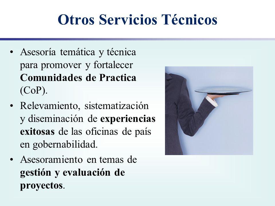 Otros Servicios Técnicos Asesoría temática y técnica para promover y fortalecer Comunidades de Practica (CoP). Relevamiento, sistematización y disemin