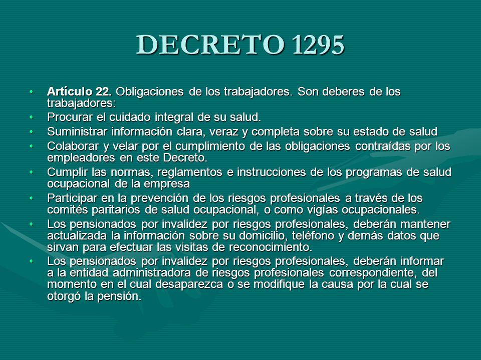 LEY 9 DE 1979 NORMAS PARA PRESERVAR, CONSERVAR Y MEJORRA LA SALUD DE LOS INDIVIDUOS EN SUS OCUPACIONES Artículo 84.