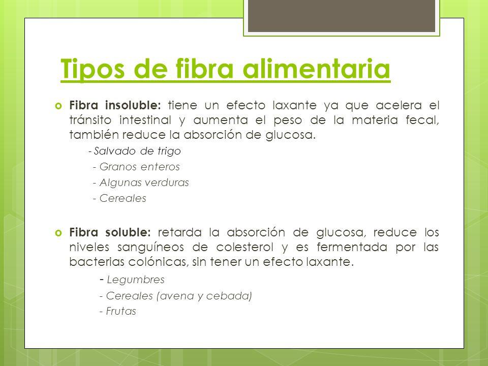 Tipos de fibra alimentaria Fibra insoluble: tiene un efecto laxante ya que acelera el tránsito intestinal y aumenta el peso de la materia fecal, tambi