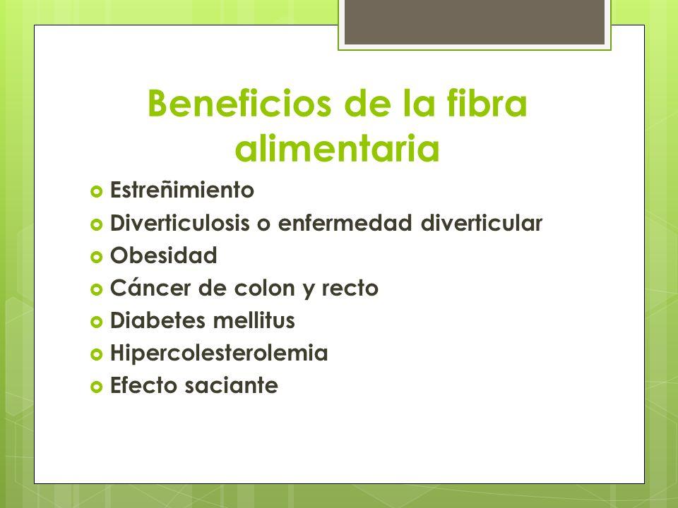 Beneficios de la fibra alimentaria Estreñimiento Diverticulosis o enfermedad diverticular Obesidad Cáncer de colon y recto Diabetes mellitus Hipercole