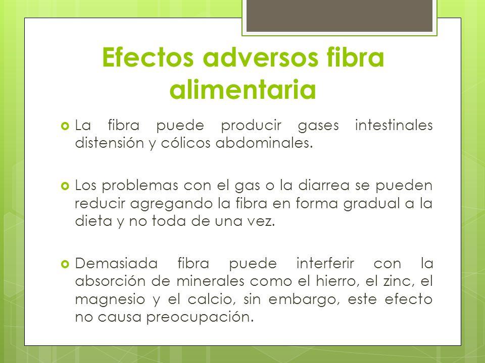 Efectos adversos fibra alimentaria La fibra puede producir gases intestinales distensión y cólicos abdominales. Los problemas con el gas o la diarrea