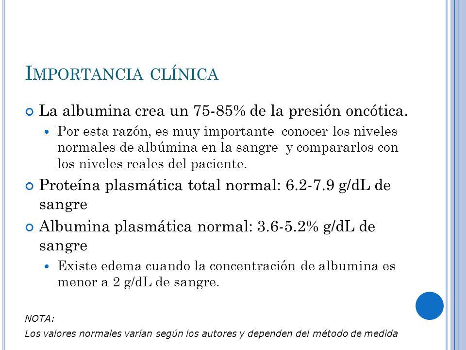 I MPORTANCIA CLÍNICA La albumina crea un 75-85% de la presión oncótica. Por esta razón, es muy importante conocer los niveles normales de albúmina en