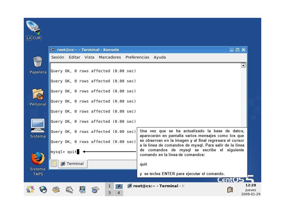 Una vez que se ha actualizado la base de datos, aparecerán en pantalla varios mensajes como los que se observan en la imagen y al final regresara el c