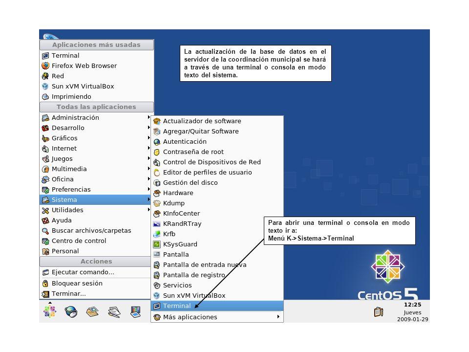 La actualización de la base de datos en el servidor de la coordinación municipal se hará a través de una terminal o consola en modo texto del sistema.