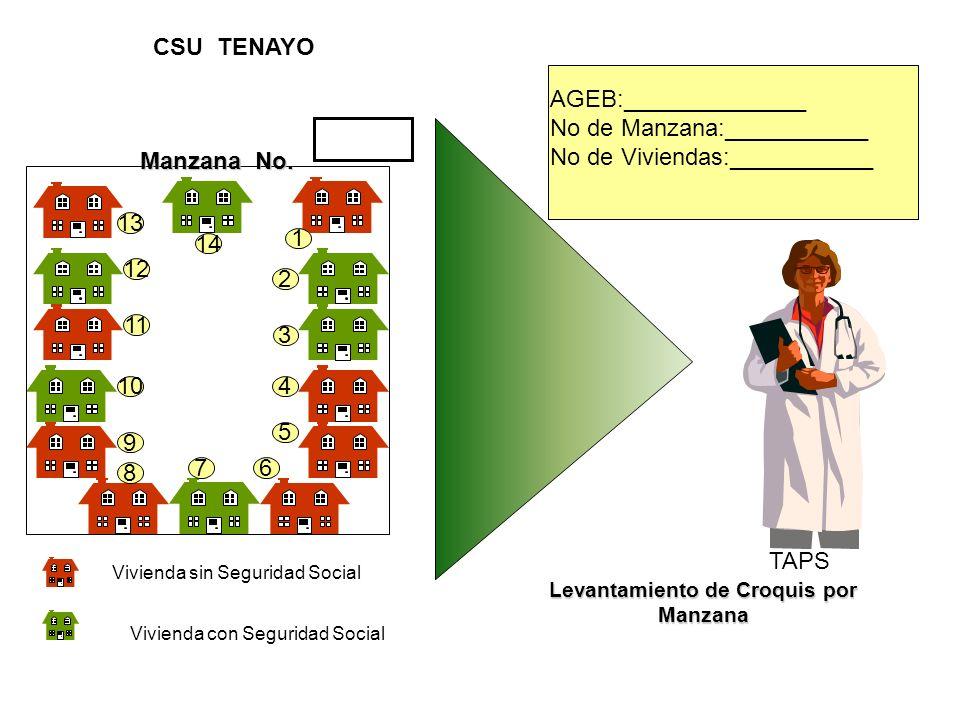 Vivienda sin Seguridad Social Vivienda con Seguridad Social TAPS Levantamiento de Croquis por Manzana AGEB:______________ No de Manzana:___________ No