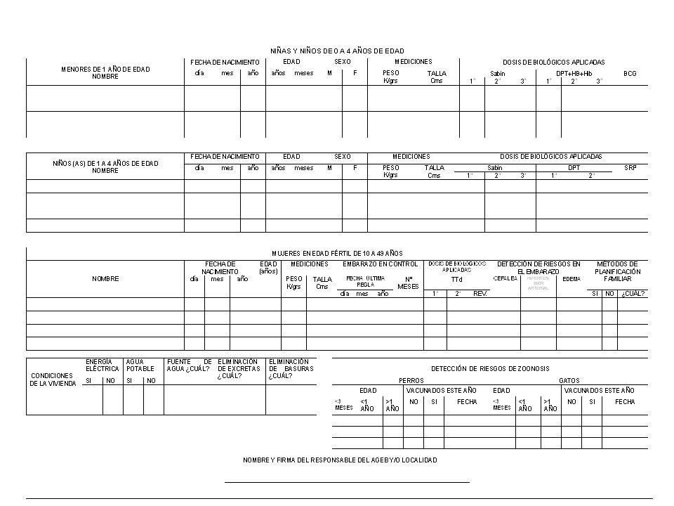Integración de 20 hasta 30 Croquis Integración de Tarjetas de Vista Familiar De 500 Familias sin Seguridad Social Total 20 – 30 Croquis 500 Tarjetas de Visita Familiar